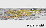 Satellite Panoramic Map of Kyrgyzstan, desaturated
