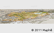 Satellite Panoramic Map of Kyrgyzstan, semi-desaturated