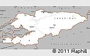 Gray Simple Map of Kyrgyzstan