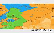 Political Simple Map of Kyrgyzstan