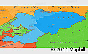 Political Shades Simple Map of Kyrgyzstan