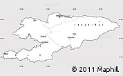 Silver Style Simple Map of Kyrgyzstan, cropped outside