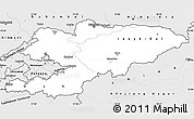 Silver Style Simple Map of Kyrgyzstan