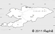 Silver Style Simple Map of Kyrgyzstan, single color outside