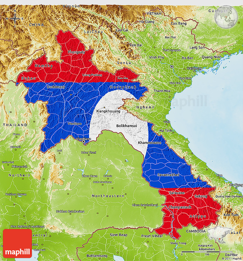 Flag 3D Map of Laos physical outside