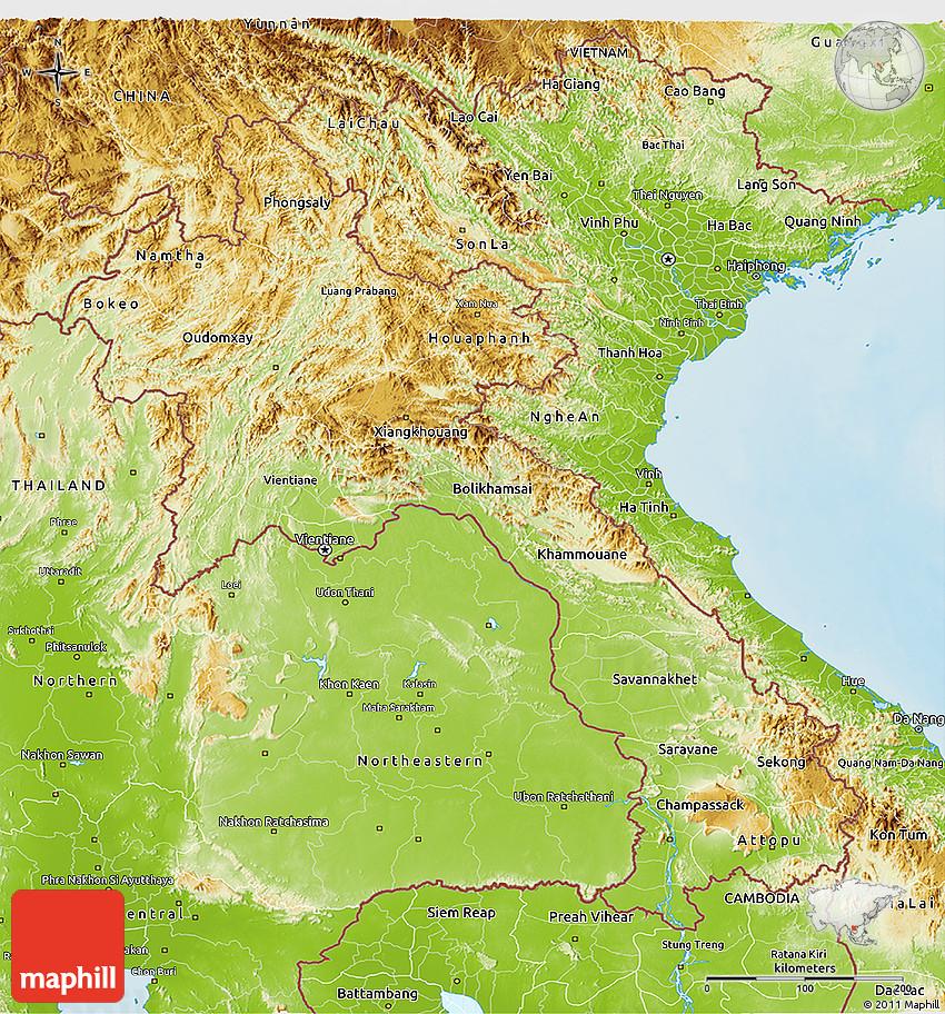 Physical 3D Map of Laos