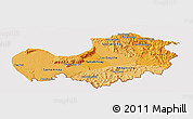 Political Shades Panoramic Map of Attopu, cropped outside