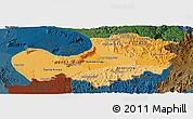 Political Shades Panoramic Map of Attopu, darken