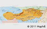 Political Shades Panoramic Map of Attopu, lighten