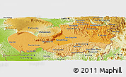 Political Shades Panoramic Map of Attopu, physical outside