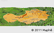 Political Shades Panoramic Map of Attopu, satellite outside