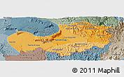 Political Shades Panoramic Map of Attopu, semi-desaturated