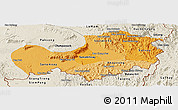 Political Shades Panoramic Map of Attopu, shaded relief outside