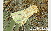 Physical Map of Houay Xay, darken