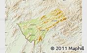 Physical Map of Houay Xay, lighten