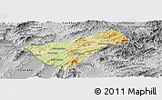 Physical Panoramic Map of Houay Xay, desaturated