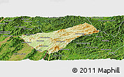 Physical Panoramic Map of Houay Xay, satellite outside