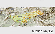 Physical Panoramic Map of Houay Xay, semi-desaturated