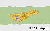 Savanna Style Panoramic Map of Houay Xay, single color outside