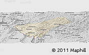 Shaded Relief Panoramic Map of Houay Xay, desaturated