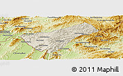 Shaded Relief Panoramic Map of Houay Xay, physical outside