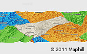 Shaded Relief Panoramic Map of Houay Xay, political outside