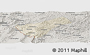 Shaded Relief Panoramic Map of Houay Xay, semi-desaturated