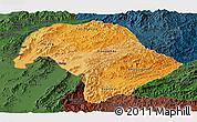 Political Shades Panoramic Map of Bokeo, darken