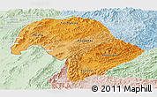 Political Shades Panoramic Map of Bokeo, lighten