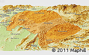 Political Shades Panoramic Map of Bokeo, physical outside