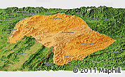 Political Shades Panoramic Map of Bokeo, satellite outside