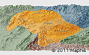 Political Shades Panoramic Map of Bokeo, semi-desaturated