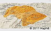 Political Shades Panoramic Map of Bokeo, shaded relief outside