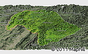 Satellite Panoramic Map of Bokeo, semi-desaturated