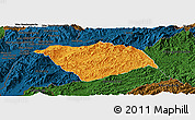 Political Panoramic Map of Ton Pheung, darken