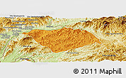 Political Panoramic Map of Ton Pheung, physical outside