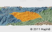 Political Panoramic Map of Ton Pheung, semi-desaturated