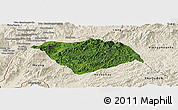 Satellite Panoramic Map of Ton Pheung, shaded relief outside