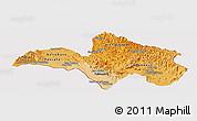 Political Shades Panoramic Map of Bolikhamsai, cropped outside