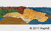 Political Shades Panoramic Map of Bolikhamsai, darken