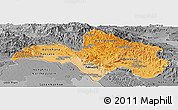Political Shades Panoramic Map of Bolikhamsai, desaturated