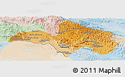 Political Shades Panoramic Map of Bolikhamsai, lighten