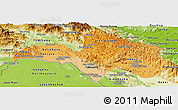 Political Shades Panoramic Map of Bolikhamsai, physical outside