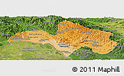 Political Shades Panoramic Map of Bolikhamsai, satellite outside
