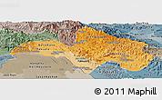 Political Shades Panoramic Map of Bolikhamsai, semi-desaturated