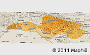 Political Shades Panoramic Map of Bolikhamsai, shaded relief outside