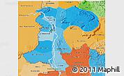 Political Shades 3D Map of Champassack