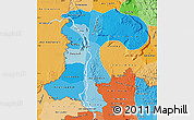 Political Shades Map of Champassack
