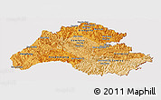Political Shades Panoramic Map of Houaphanh, cropped outside
