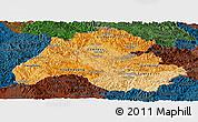 Political Shades Panoramic Map of Houaphanh, darken
